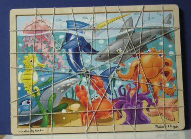 Melissa / Doug Wood Frame Tray Under the Sea Jigsaw Puzzle 24 Pieces New