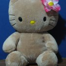 "Build a Bear Workshop Hello Kitty 17"" Plush Tan Meowing Cat with Flower"