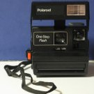 Polaroid One Step Flash 600 Instant Land Camera - Black 1980s Vintage