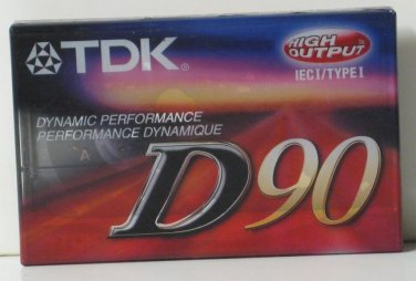 Audio Cassette Tape TDK D90 - 90 Minute High Output - New / Sealed