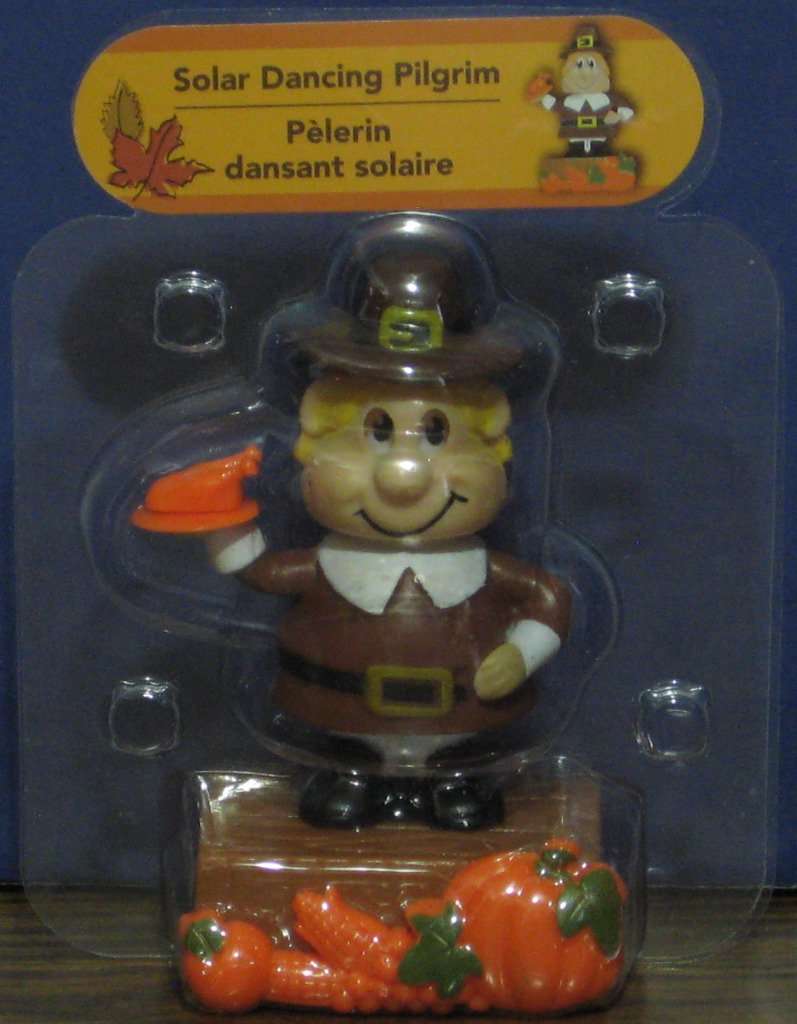 Solar Dancing Pilgrim Boy Thanksgiving Light Activated Decoration - New