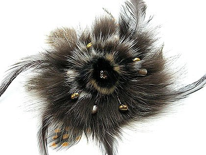 """4"""" Stunning Brown Fur Pearls Crystal Brooch Pin BP06"""