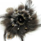 "4"" Stunning Brown Fur Pearls Crystal Brooch Pin BP06"