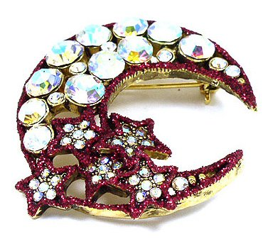 Red Crescent Moon Stars AB Crystal Gold EP Brooch BP55