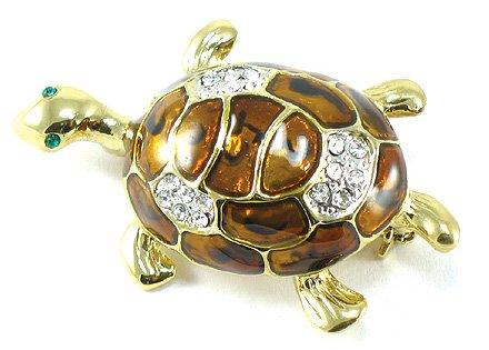 Adorable 14K Gold EP Enamel Crystal Turtle Brooch Pin Broach BP22