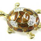 Adorable 14K Gold EP Enamel Crystal Turtle Brooch Pin Broach BP22