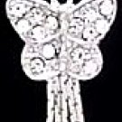 Crystal Pave Dangle Butterfly Navel Belly Button Ring BJ10