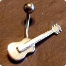 Sterling Silver Guitar Navel Belly Button Ring BJ125