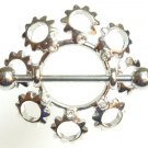 Pair of 2 Crystal Sun Nipple Shield Rings BJ60