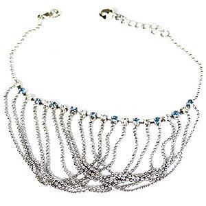Exotic Light Blue and Clear Crystals Ball Chain Collar Bracelet