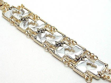 Two Tone Shiny Heart Chain Link Magnetic Bracelet BR67