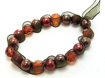 Ribbon wrapped copper glass pearl stretch bracelet BR18