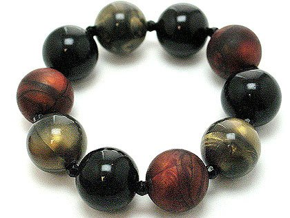 Copper/black/gold Lucite marble beads stretch bracelet BR19