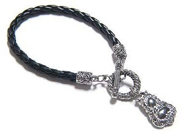 Braided Genuine Black Leather Toggle Charm Bracelet BR01