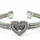 EXQUISITE CRYSTAL PAVE HEART ON 3 TWISTED CABLE WIRE BANGLE CUFF BRACELET BR30