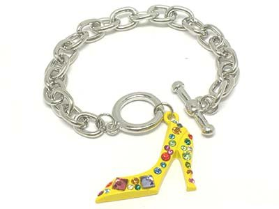 Yellow High Fashion Crystal Pave Stiletto Shoe Rhodium Finish Charm Bracelet BR10
