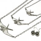 Soaring Dove Silver Chunky Necklace and earrings set NP63