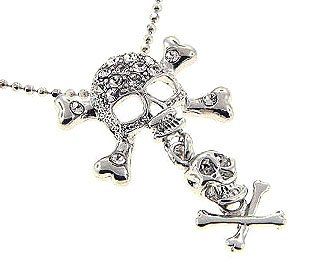 Double Skull Cross Bone CZ Jolly Roger Pendant NP26