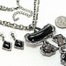 Chunky Black Lucite Necklace Earrings set Antique Silver Chains NP115