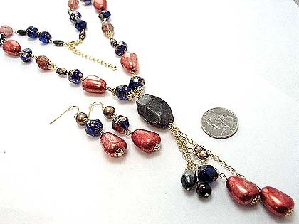 "Black Gold Copper Bead Necklace and Earrings Set, 5"" Y Drop"