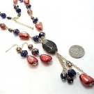 """Black Gold Copper Bead Necklace and Earrings Set, 5"""" Y Drop"""
