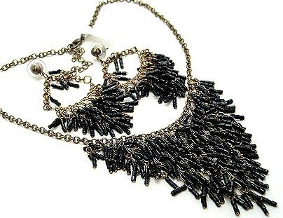Black Tubular Cascade Drop Lucite Beads Necklace and Earrings Set NP90