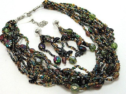 Colorful Multi Strands Glass Beads Necklace Choker & Earrings Set NP133