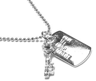 Silver Crystal Key Dogtag Pendant Necklace NP40