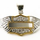 "Large 3"" Motorcycle Wings Motorcycles 2 Tone Engravable Badge Pendant"