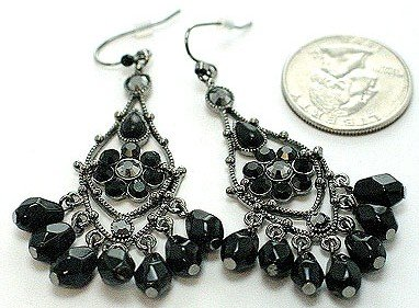 Exquisite Black Crystal Chandelier Cascade Drop Earrings EA45