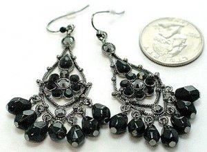 Exquisite Black Crystal Chandelier Cascade Drop Earrings EA45