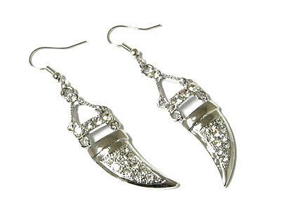 "2"" Trendy Crystal Pave Tusk Dangle Earrings EA28"