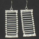 Stunning Crystal Frame Ladder Shape Dangle Rhodium Finish Earrings EA11