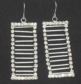 Stunning Crystal Frame Ladder Shape Dangle Rhodium Finish Earrings EA11