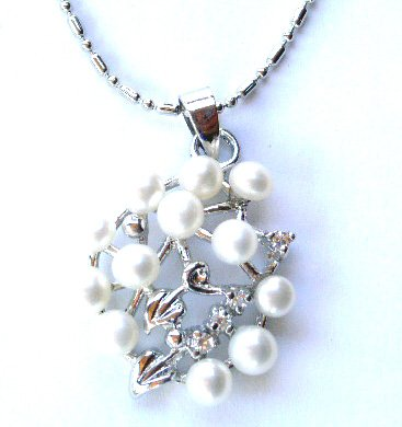 Genuine White Pearl Crystal Flower Cluster 14K White Gold EP Pendant Necklace NP88W