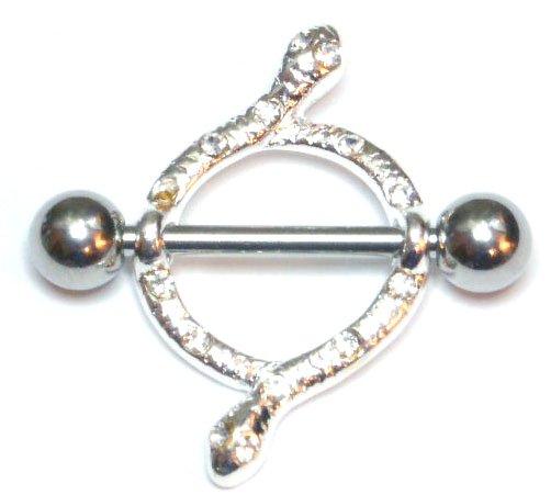 Pair of 2 Crystal Snake Nipple Shield Rings BJ57