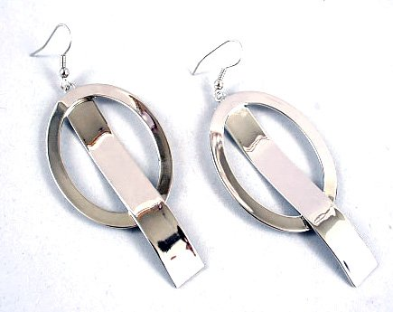 Stainless Steel Oval Shape Abstract Hook Dangle Earrings EA08