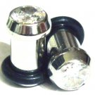 Pair of 2 Faceted Sparkling Clear CZ Crystal Ear Plugs Tunnels BJ23 - 2g