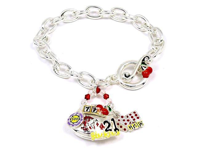 Good Luck Casino Slot Roulette Black Jack Toggle Charms Bracelet BR54