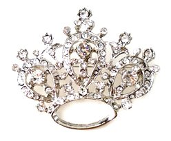 Austrian Crystal Crown Rhodium Plated Brooch BP59