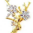 Sparkling Austrian Crystal 14K Gold EP Tree Brooch BP14