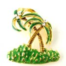 Palm Tree with Crystal Enamel Palmtrees Gold EP Brooch BP52