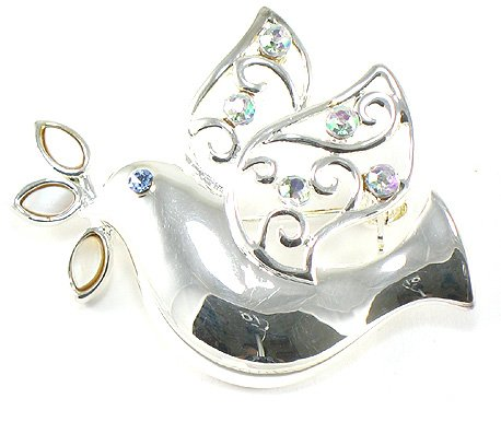 AB Crystal Peace Dove Bird Rhodium Finish Brooch BP21