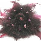 4 inch Unique Burgundy Fur Brooch with Pearls Broach Pin BP05