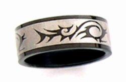 Black Titanium Anodized TRIBAL Band Ring, SSR09 Sz 6
