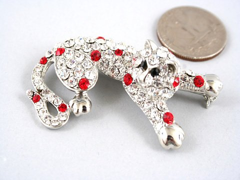 "2.25"" Crystal Pave Leopard Wild Cat Brooch Pin Broach BP07"