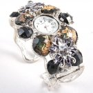 Chunky Crystal Flower Pattern Cuff Watch WW127