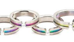 Floating CZ  Gay Pride Rainbow Titanium Ring SSR18  Sz 11, 12