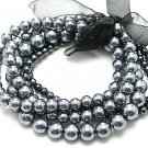 Elegant 5 strands Silver Pearl ribbon stretch bracelet BR21