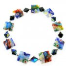 Multicolor Square Murano Glass Flowery Beads Stretch Bracelet BR38